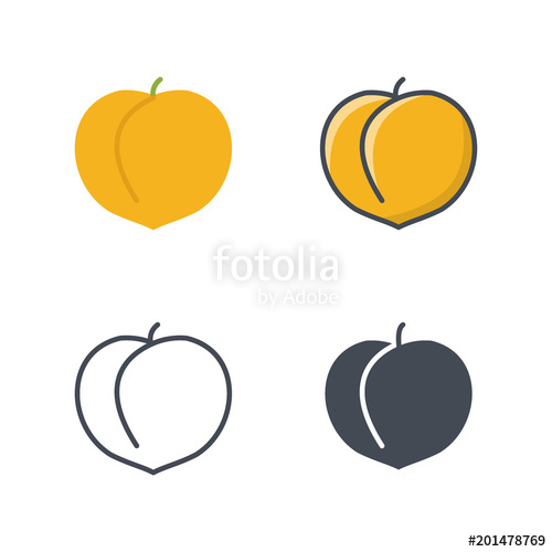 500x500 Peach Fruit Food Icon Vector Flat Silhouette Line Colored Stock