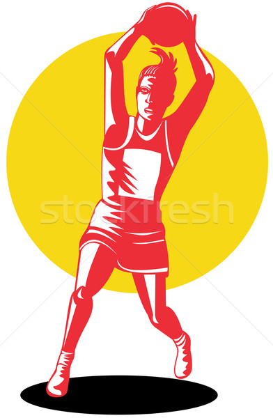 392x600 Peach Silhouette Netball Player Stock Photo Aloysius Patrimonio