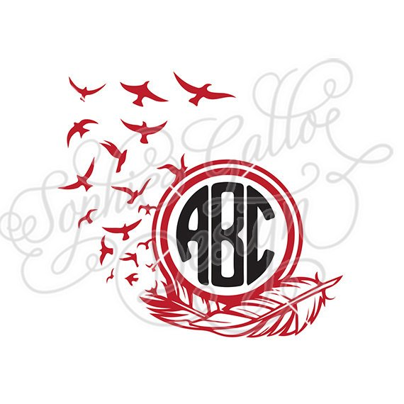 570x570 Free Bird Feather Monogram Frame Svg Amp Dxf File For Cricut