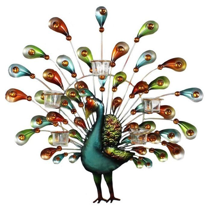 700x700 Decor +peacock +metal Multicolored Metal Wall Decor