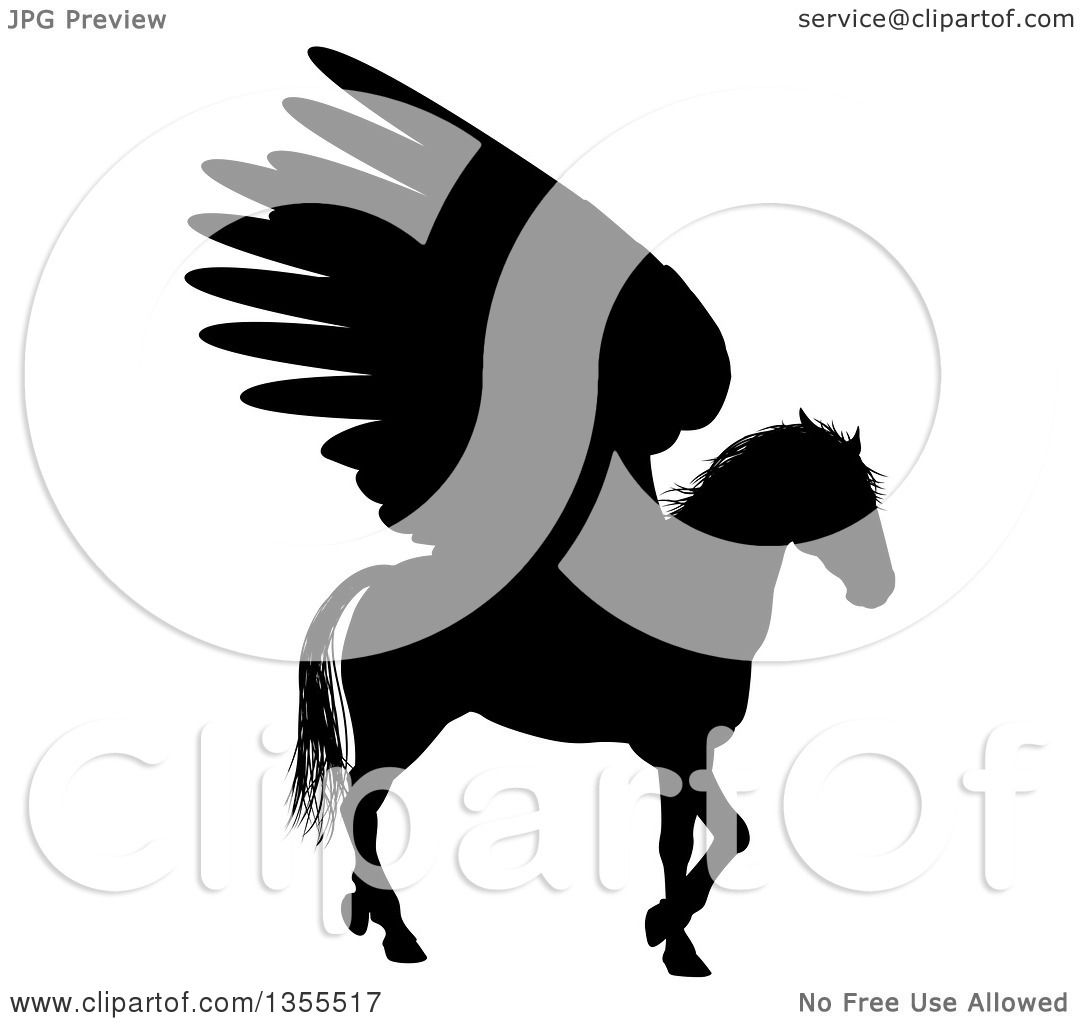 1080x1024 Clipart Of A Black Silhouette Of A Walking Winged Pegasus Horse