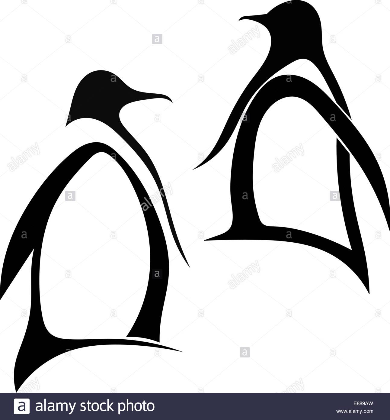 1292x1390 Two Silhouette Of Penguin Stock Vector Art Amp Illustration, Vector