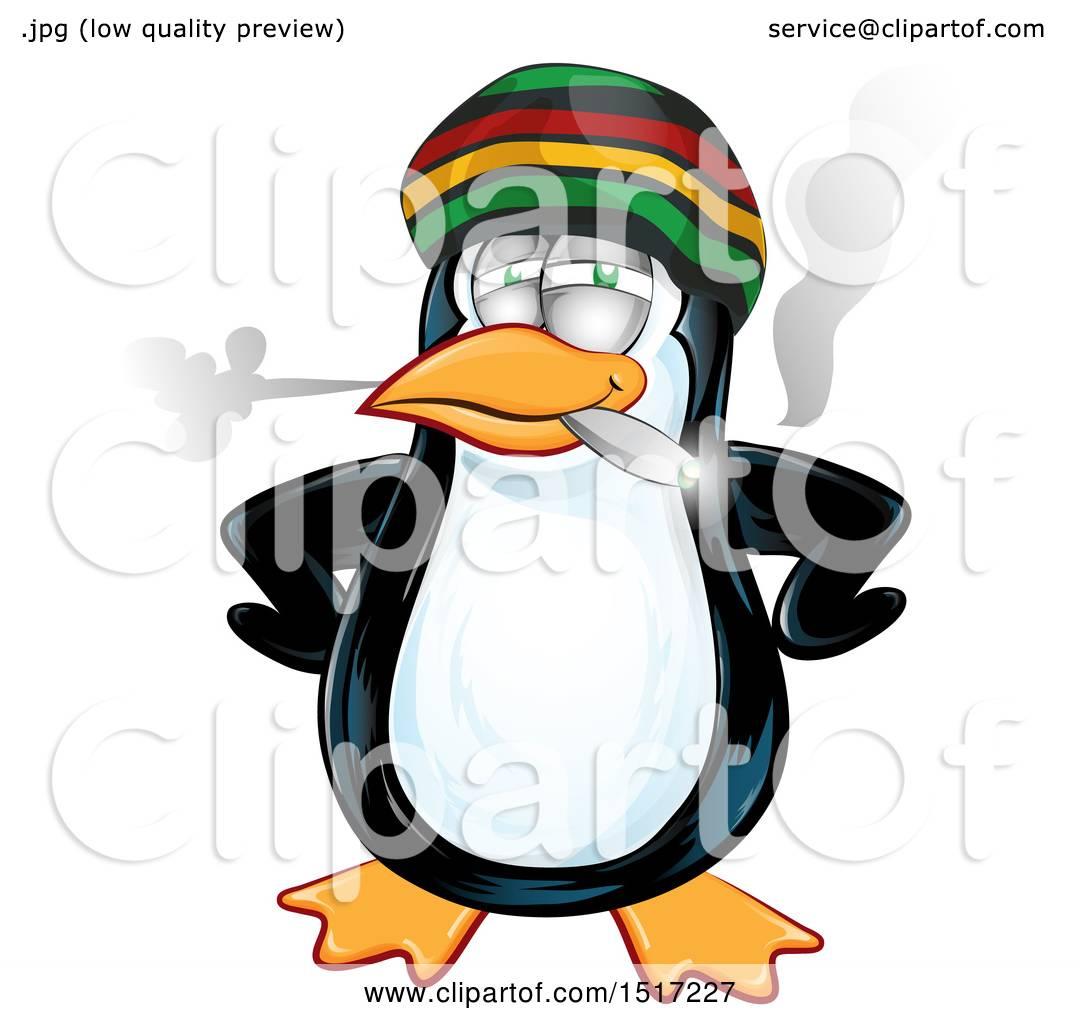 1080x1024 Clipart Of A Jamaican Rasta Penguin Smoking A Joint