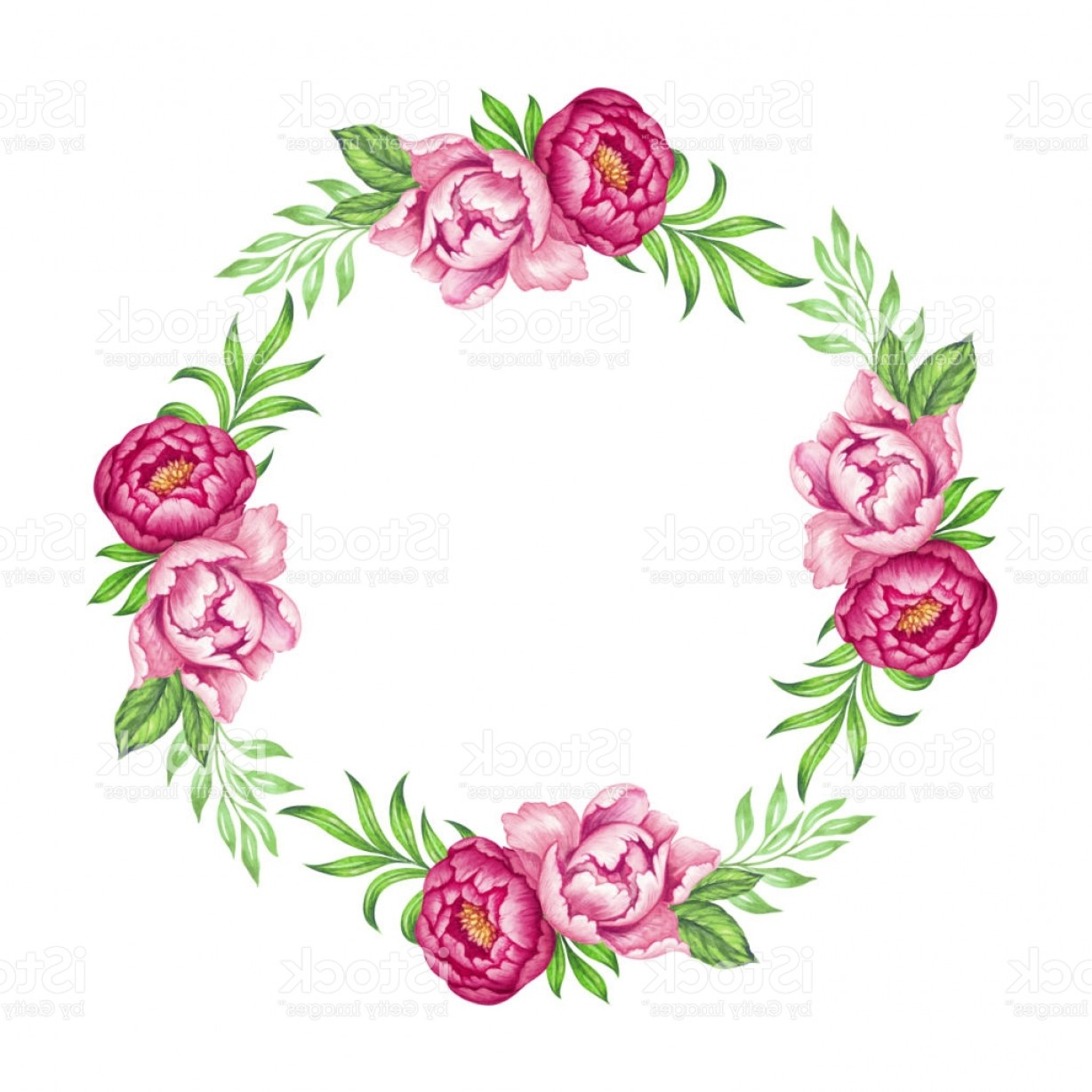 1228x1228 Fresh Pink Peony Round Wreath Rose And Green Leaves Watercolor
