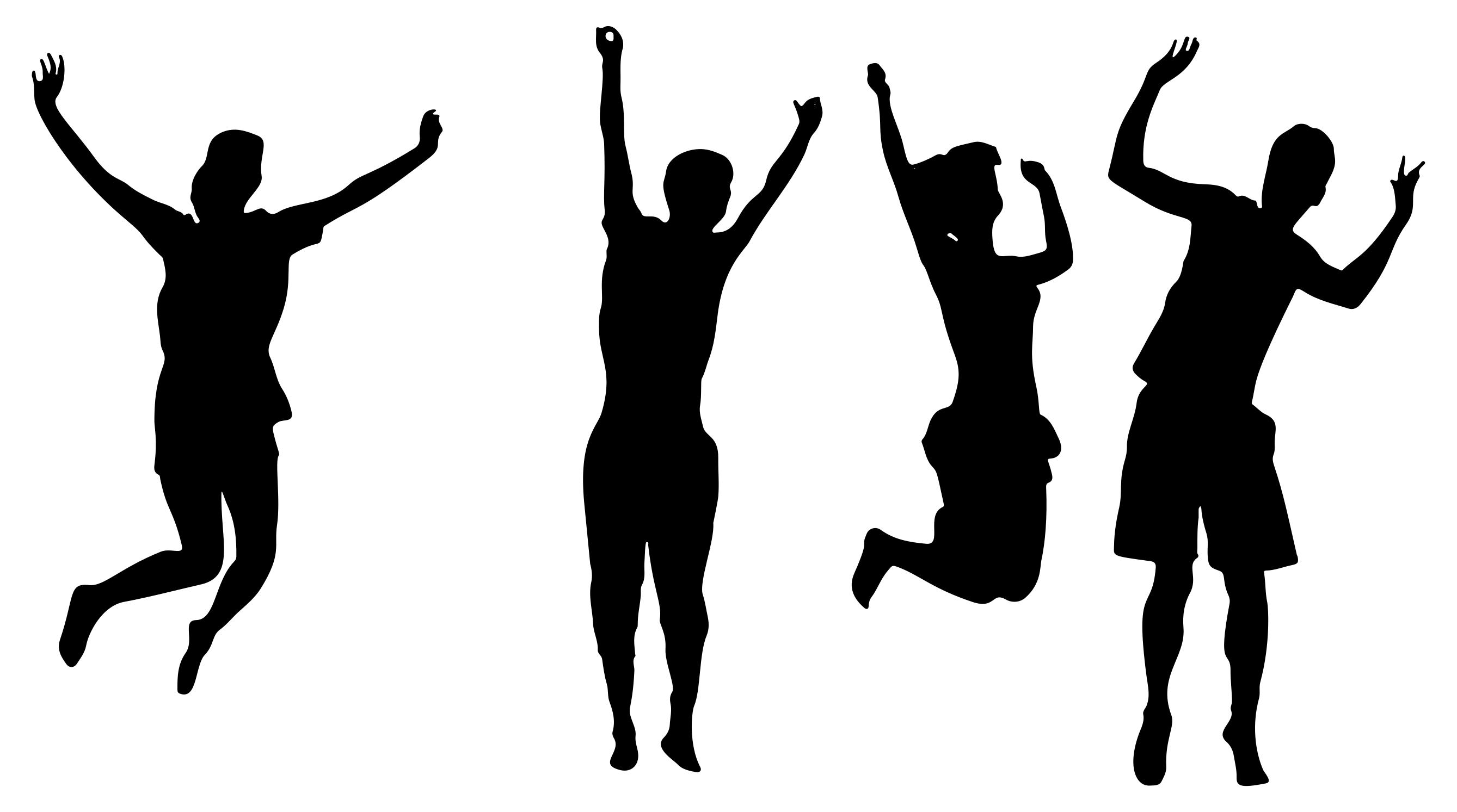 2677x1493 Four Jumping For Joy Silhouette Clipart
