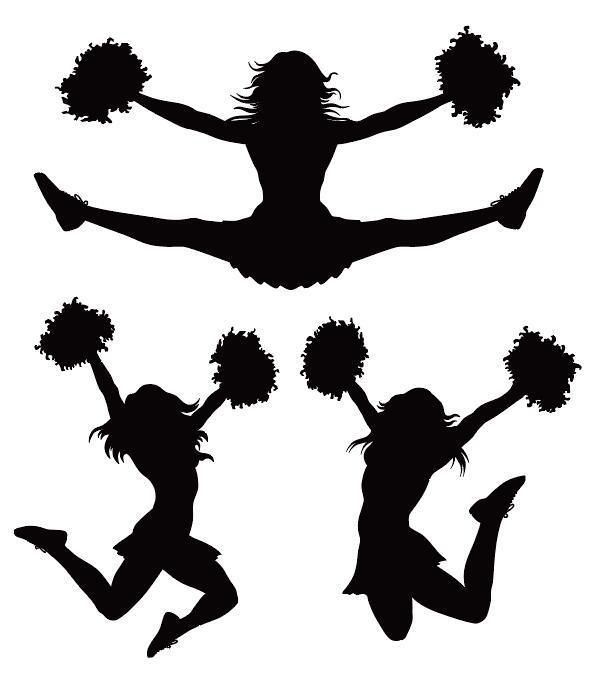 595x684 Girl cheerleader silhouette vector set 01