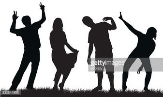 337x200 Happy People Silhouettes Stock Vectors