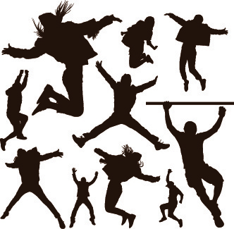 332x325 People Cheering Silhouette Free Vector Free Vector Download