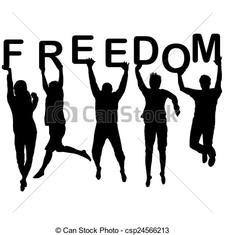 450x470 People silhouettes jumping and holding the letters with word