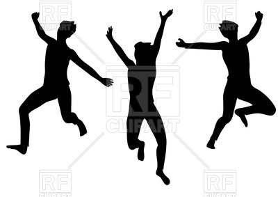 400x283 Silhouettes of happy jumping people Royalty Free Vector Clip Art