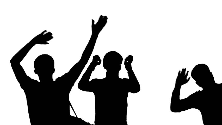 852x480 Silhoutted Group Of Two Men And A Woman Dancing, Clapping And