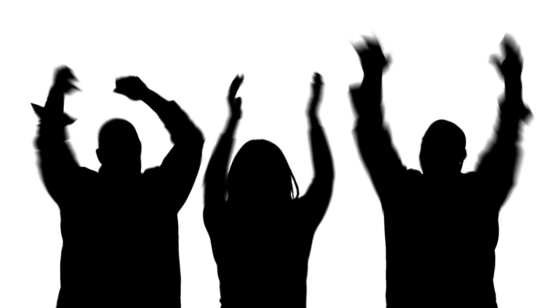 1920x1080 Silhoutted group of two men and a woman dancing, clapping and