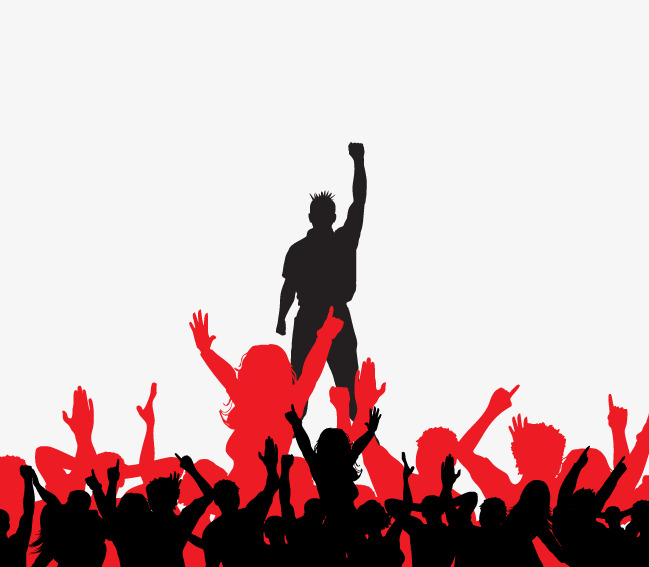 649x567 Vector Concert Crowd, Singer, Fans, Silhouette Crowd PNG and