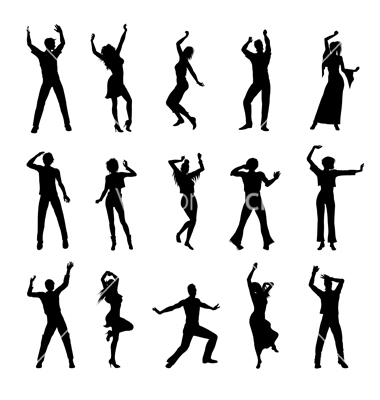 380x400 Dancing People Silhouettes Vector On Vectorstock Silhouettes