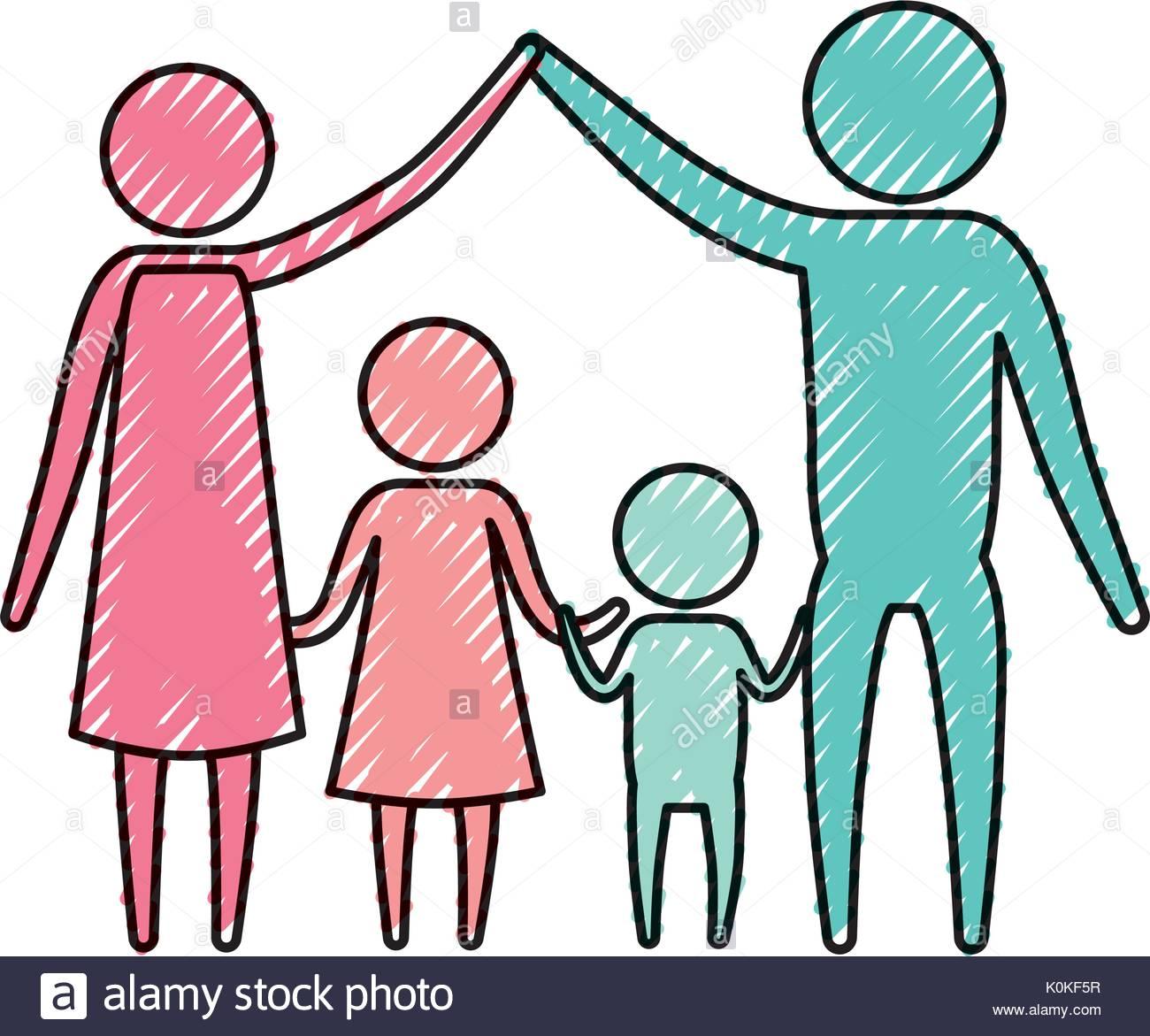 1300x1171 Color Crayon Silhouette Pictogram Couple Parents Holding Hands Up