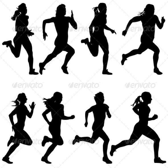 590x590 Set Of Running Silhouettes By Aarrows Graphicriver