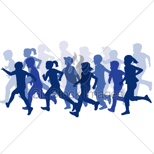 500x500 Group Of Children Silhouettes Running Gl Stock Images