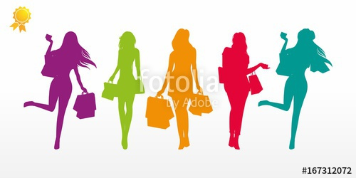 500x250 Girl Shopping Characters Silhouette Illustration Vector Logo