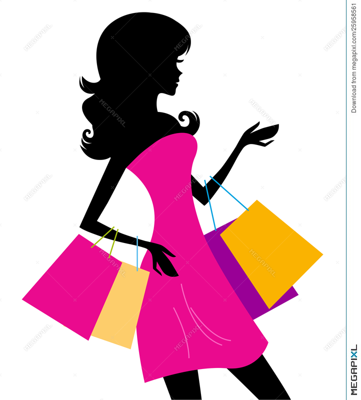 722x800 Woman Shopping Silhouette Isolated On White Illustration 25958561