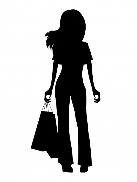 461x615 Girl Shopping Black Silhouette Scherenschnitt