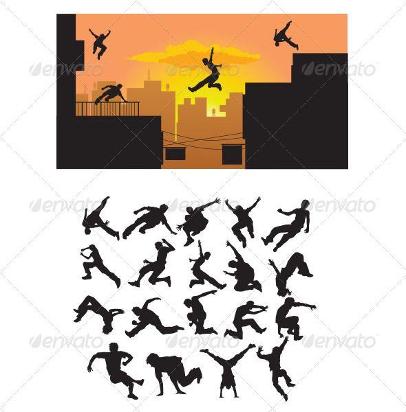 590x600 Parkour Silhouette Parkour, Silhouettes And Illustrators