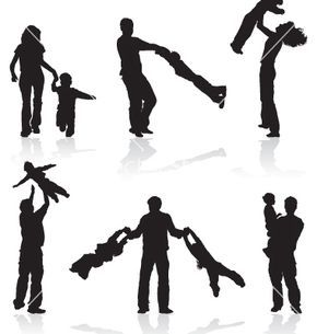 290x305 People Silhouettes Vector 9064
