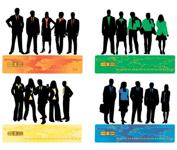 600x509 8 Business People Silhouette Vector Set