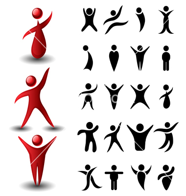 380x400 Abstract People Symbol Set Vector 1199025