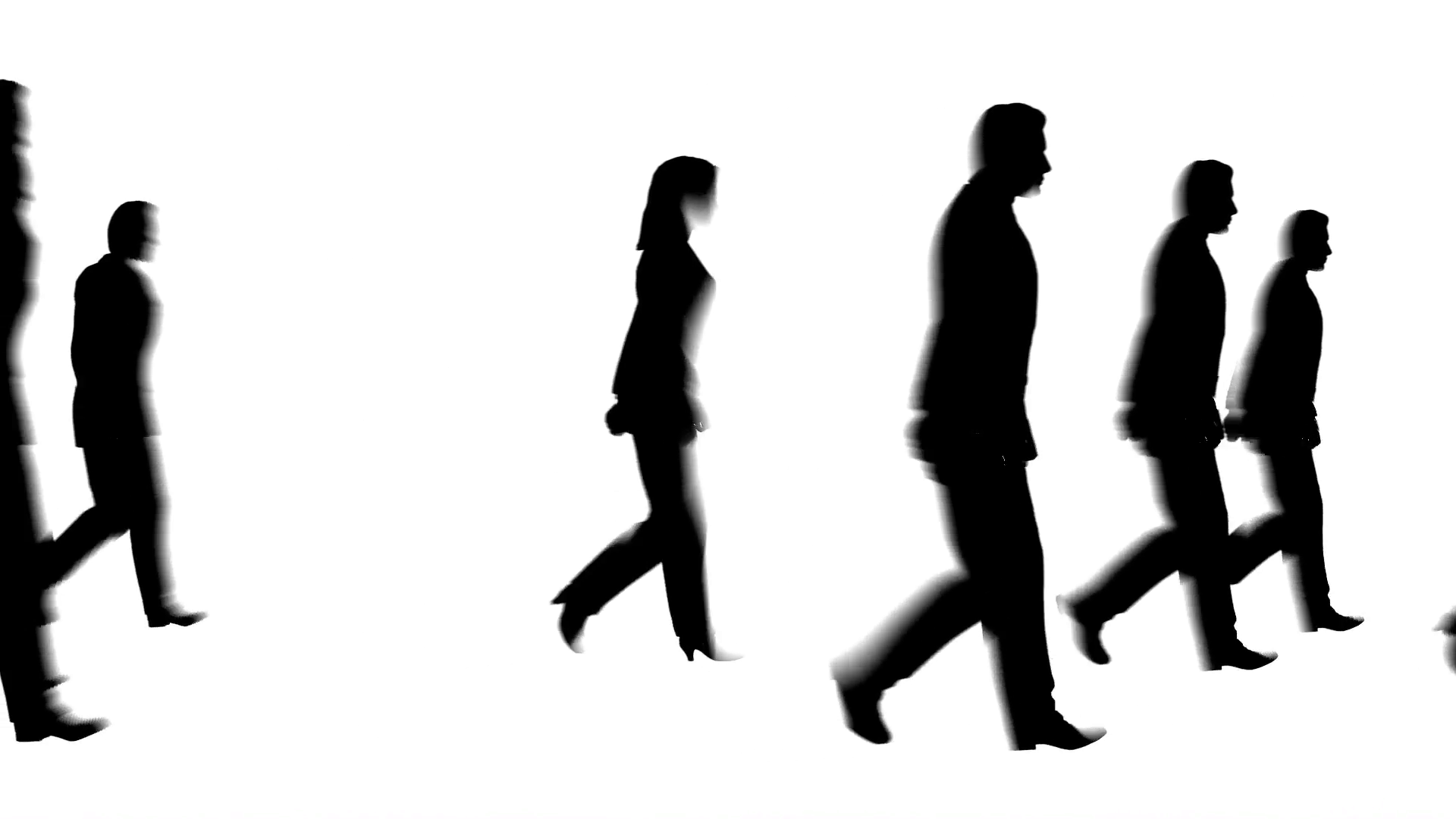 1920x1080 Walking People Silhouette Stock Video Footage