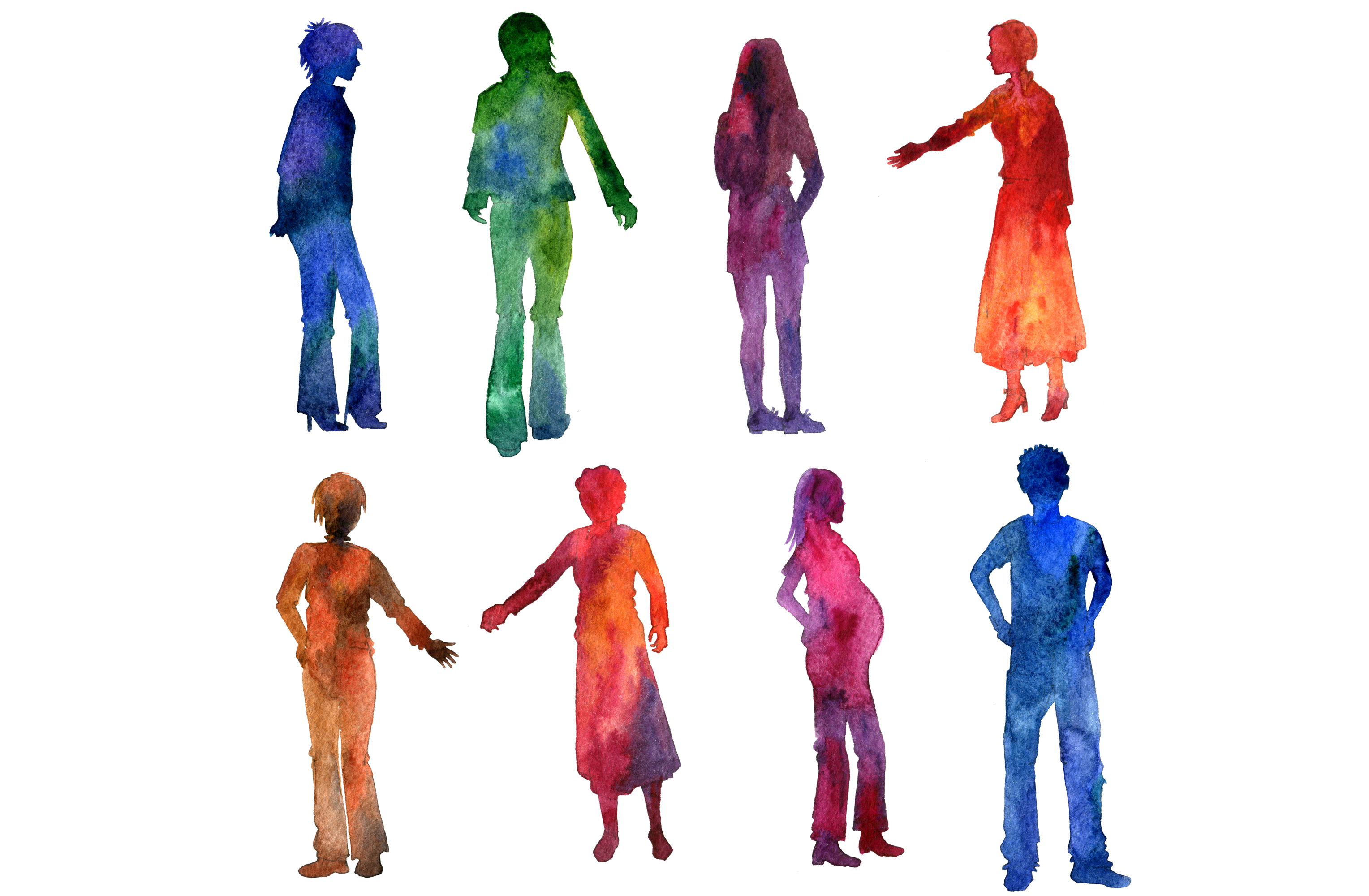 3056x2000 Watercolor People Silhouettes Additude