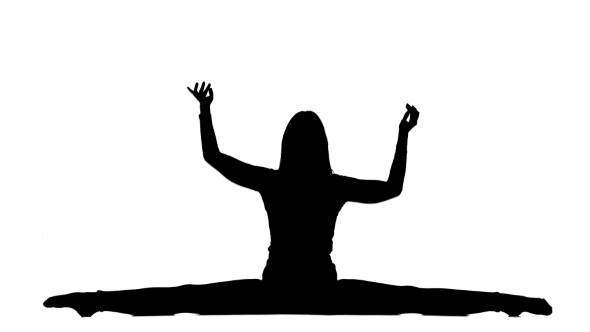 590x332 Silhouette Of Gymnast Sitting On A Twine On White Background By