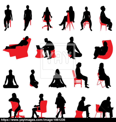 486x512 Sitting People Silhouettes Vector