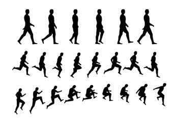 350x251 Character Movement Silhouette Vector Vector Free Vector Download