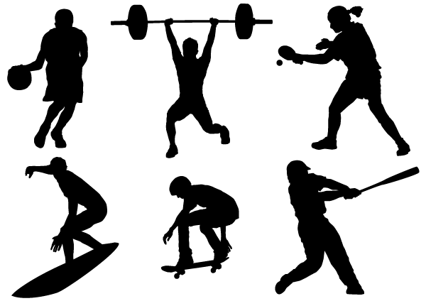 600x424 Sport Silhouettes Vector Free, Free Vector