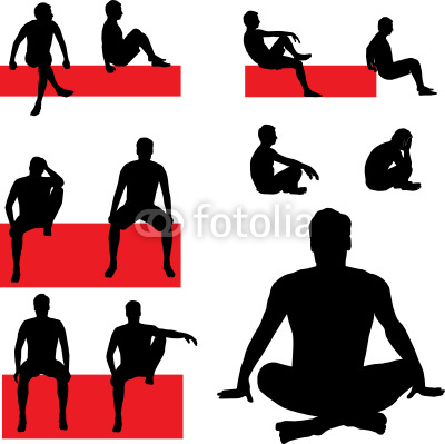 400x399 People Sitting Silhouette Vector
