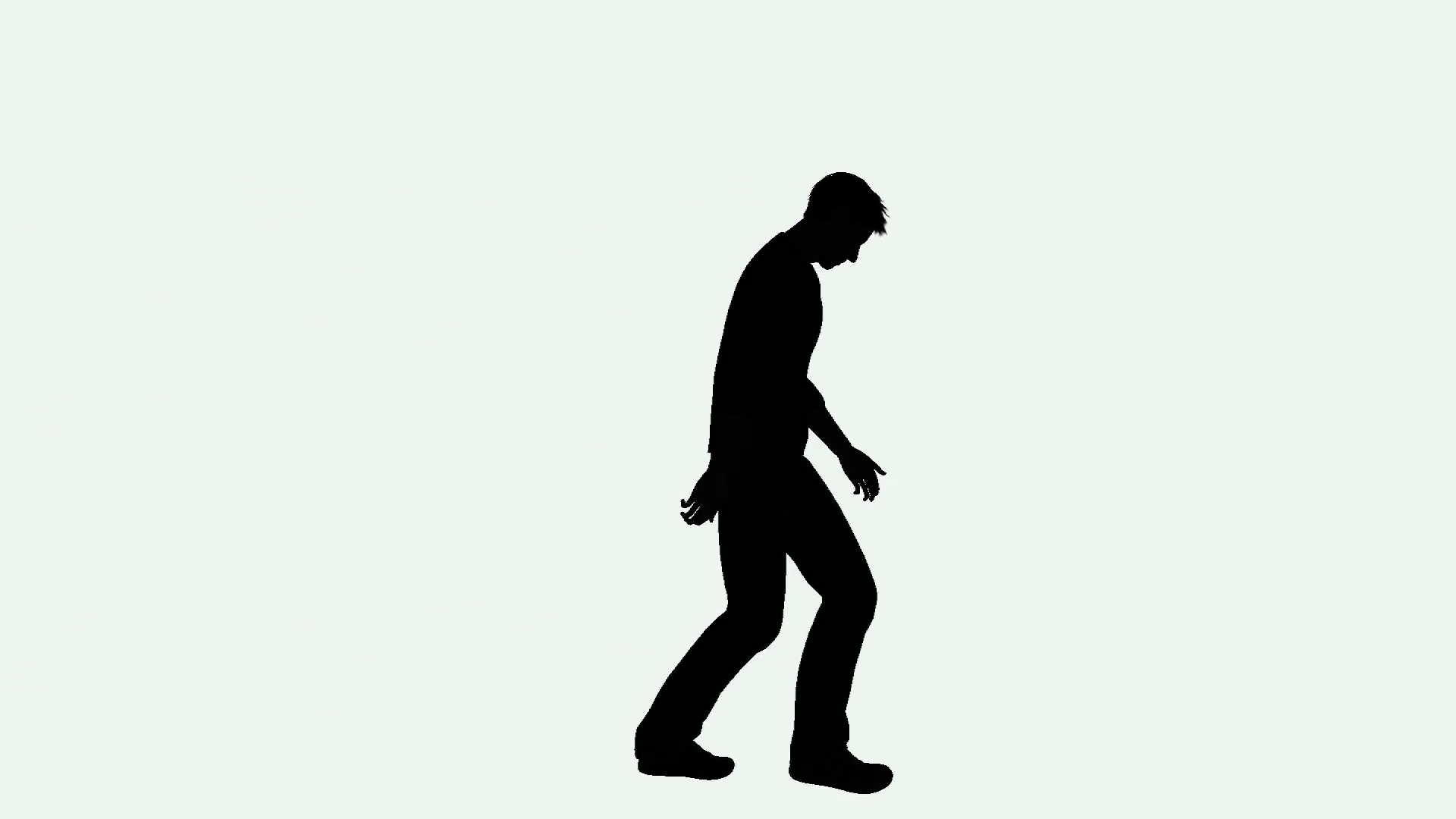 1920x1080 Depressed Man Walking Silhouette Motion Background