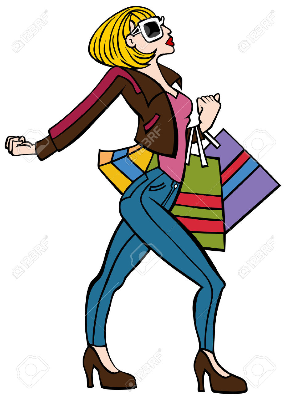 928x1300 Black Silhouette Woman Purple Shopping Bag Clipart Walking Collection