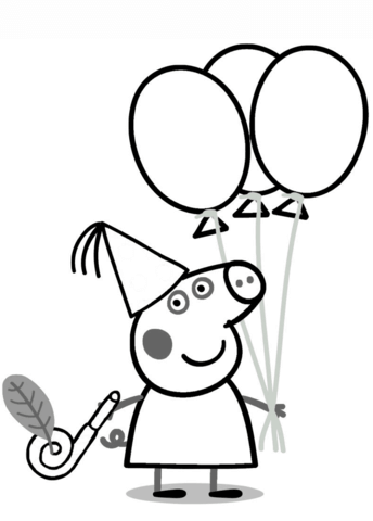 344x480 Peppa Pig With Ballons Coloring Page Free Printable Coloring Pages