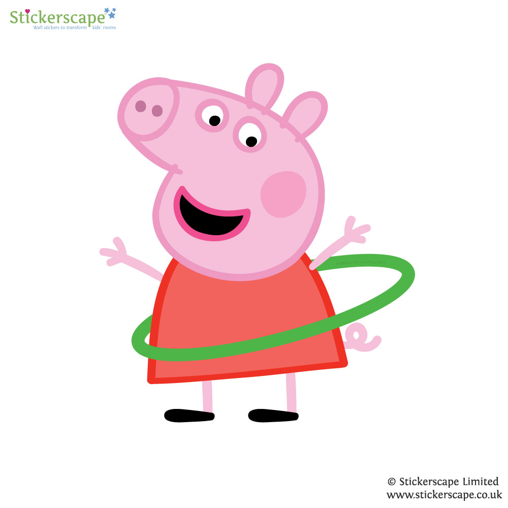 1000x1000 Peppa Pig With Hula Hoop Wall Sticker Stickerscape Uk