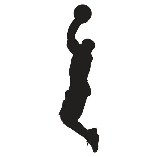 525x525 Basketball Basketball Player Jump Silhouette Template, Stencil