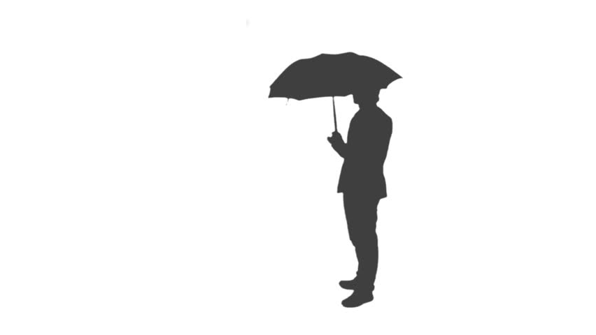 852x480 Silhouette Of A Businessman Holding An Umbrella Stock Footage