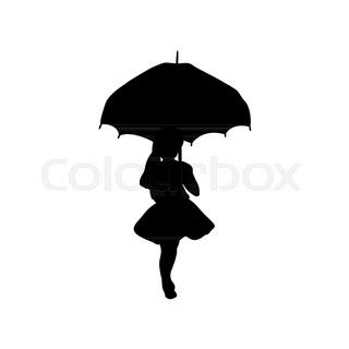 320x320 Silhouette Child With Umbrella, Illustration Stock Vector
