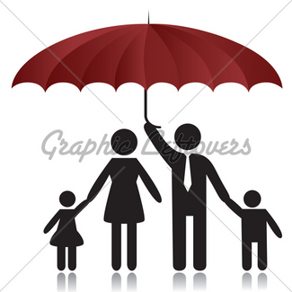 325x325 Silhouettes Of Family Under Umbrella Cover Gl Stock Images