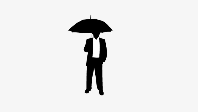 650x366 Umbrella Man Standing, People Standing Silhouette, Silhouette