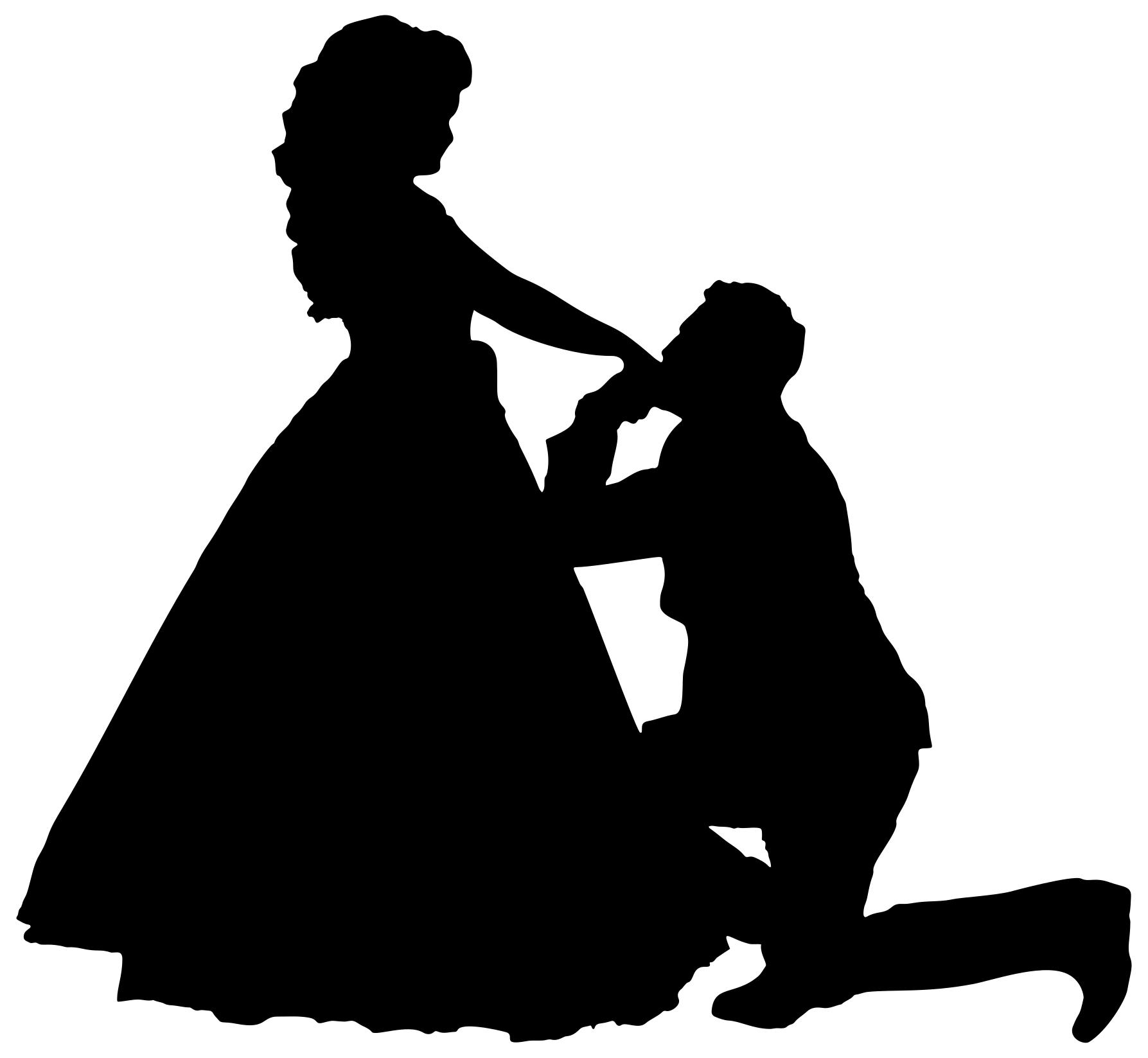 1787x1647 Man On One Knee Proposing Silhouette Clipart