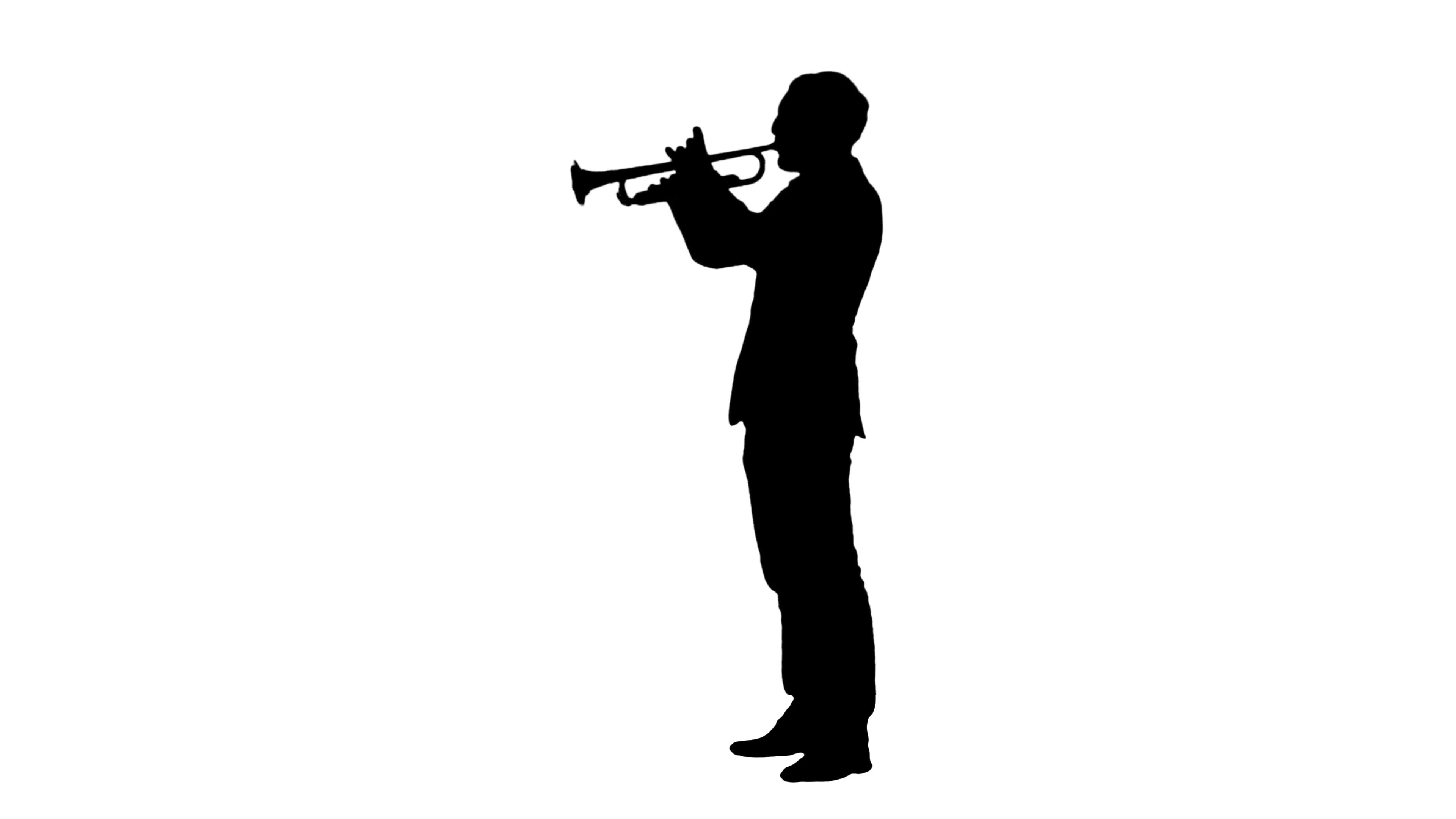 3840x2160 Silhouette Man Standing And Trumpet Melody Stock Video Footage