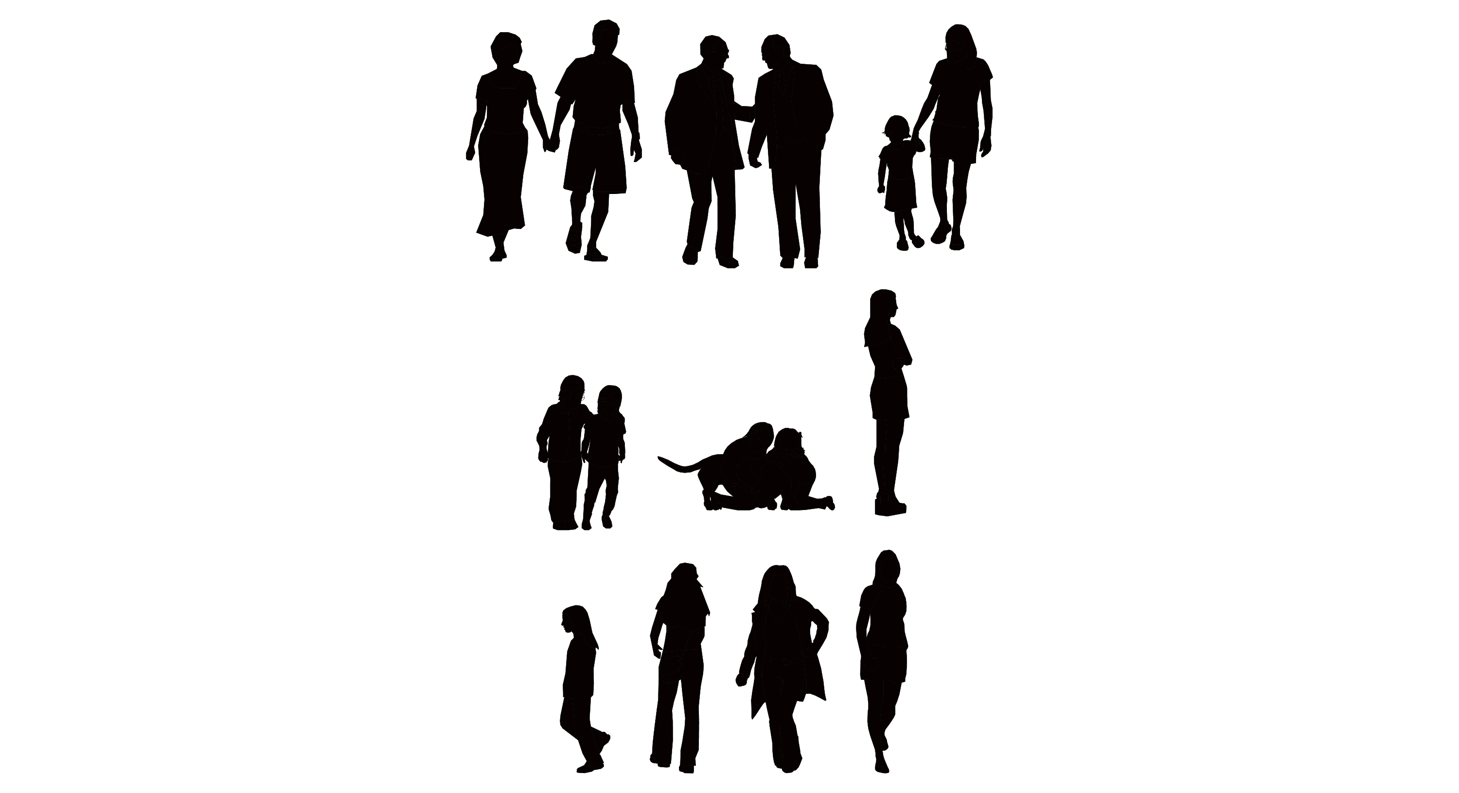 3000x1631 18 Sitting People Vector Graphics Images