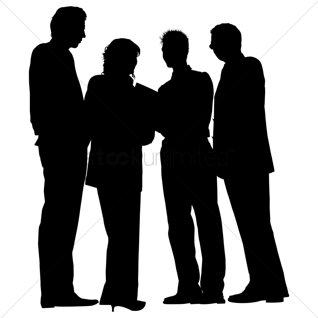 1300x1300 Group Of Business People Standing Silhouette Vector Image