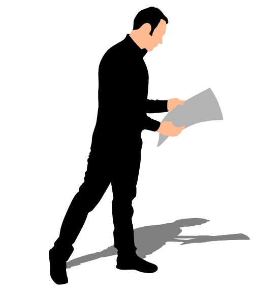 500x571 Man Reading Newspaper Vector Silhouette