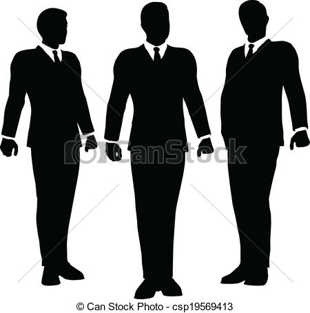 450x454 Business People Standing Silhouette. Eps 10 Vector Vector Clip